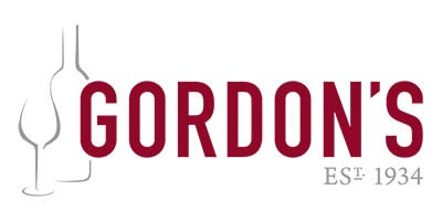 Gordon's logo - burgundy letters with a line drawing of a bottle & wine glass