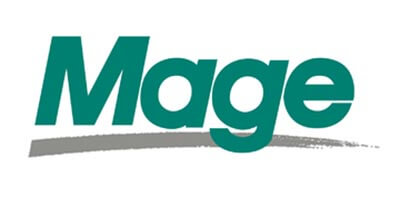 Mage logo - word Mage in green with a gray swoosh under it