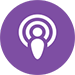 Apple Podcasts icon - Purple circle with concentric white circles inside